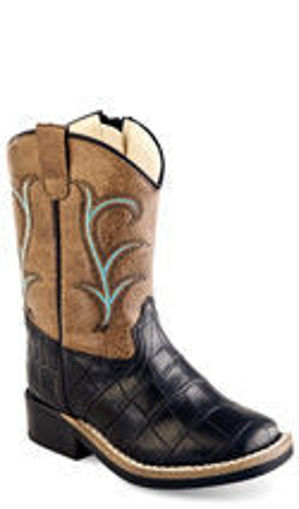 Picture of VB1012 Toddler: Brown with Teal Accents Square Toe