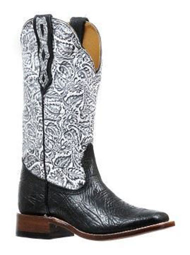 Picture of 6295 Boulet: Ladies Wide Square Toe Shoulder Black/Louisiana Daisy Black/White